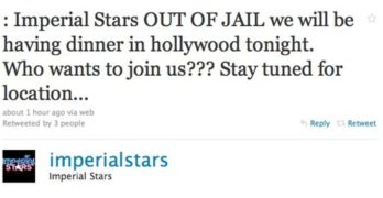 Imperial Stars: Arrested for Disturbing the Peace, Now Out of Jail and Seeking Dinner Dates Tonight in Hollywood