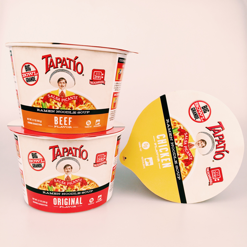Tapatio Hot Sauce paired with ramen noodles