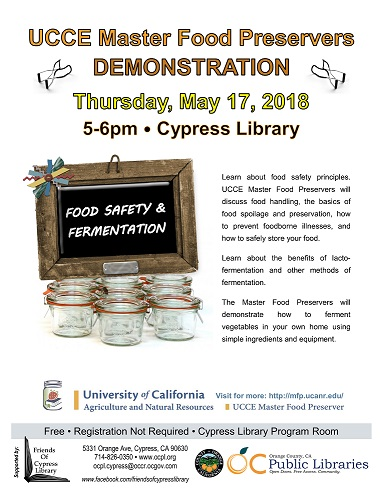 UCCE Master Food Preservers presents Food Safety & Fermentation