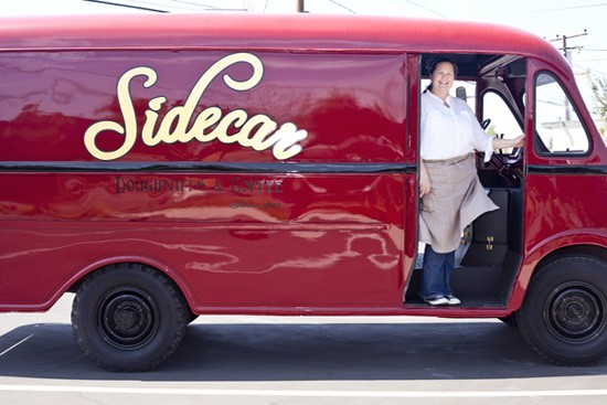 Vintage Sidecar transportation with founding chef Brooke Des Barnes