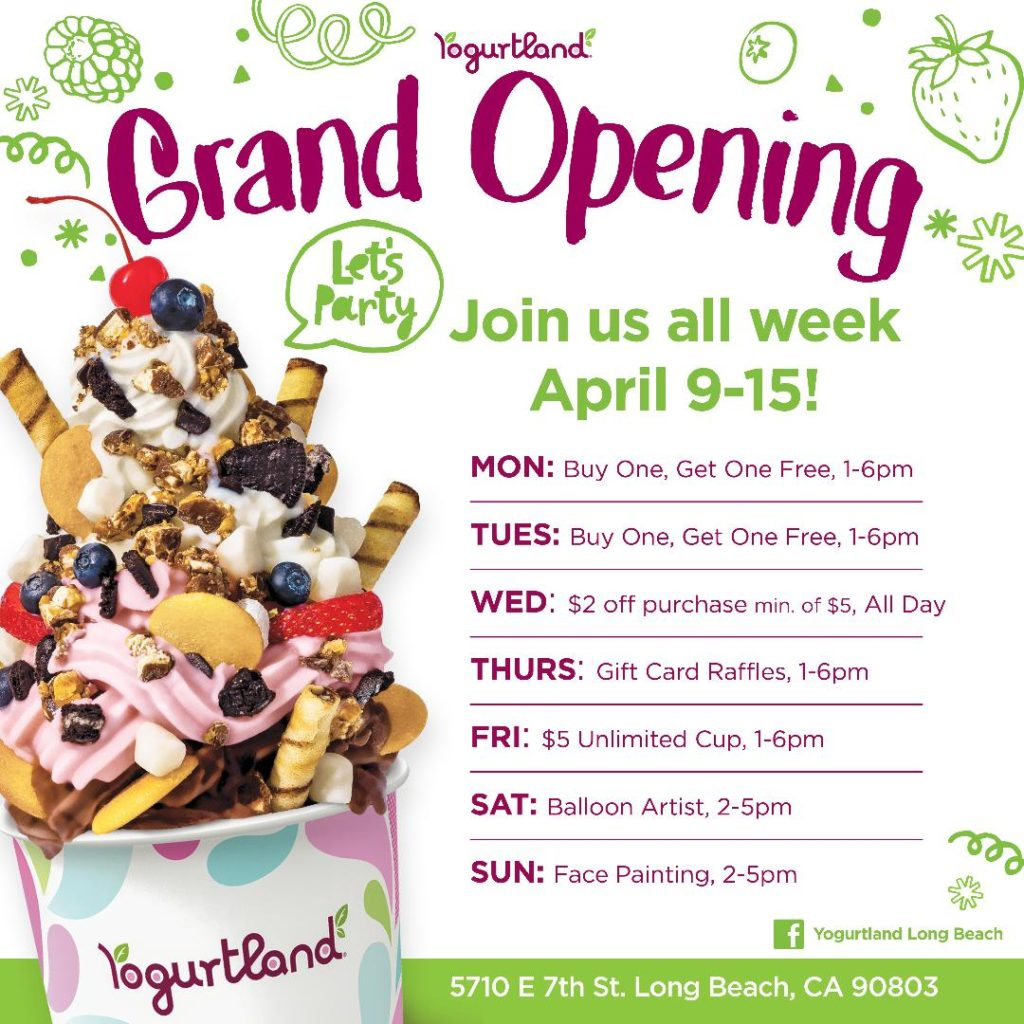 Week-long specials at Yogurtland's new Long Beach location