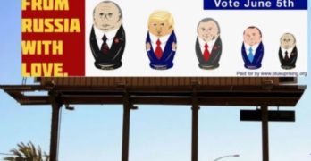 Russian Doll Billboard with Putin, Trump, Rohrabacher and Baugh is Unveiled Today