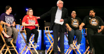 Great Moments With Bernie Sanders: Senator Rallies Disney Workers in Anaheim