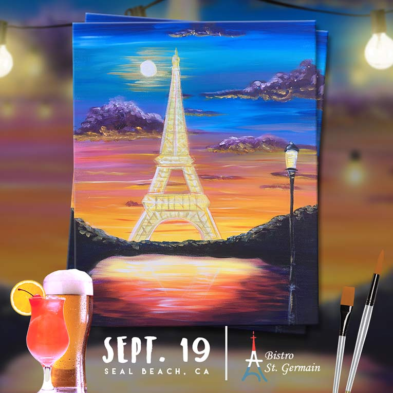 "Paint and Sip in Seal Beach, CA – ""La Tour Eiffel"""