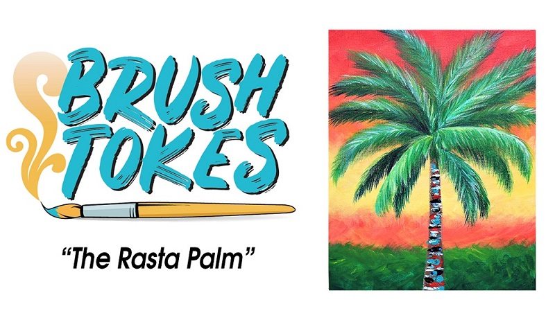 """Brush Tokes 420 Friendly Puff, Sip, and Paint Session - """"Rasta Palm Tree"""""""